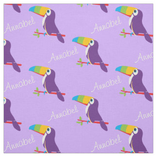 Toucan graphic bird art named purple fabric