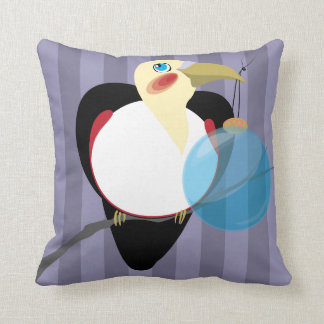 Toucan in Black Tuxedo with Christmas Ornament Mod Throw Pillow