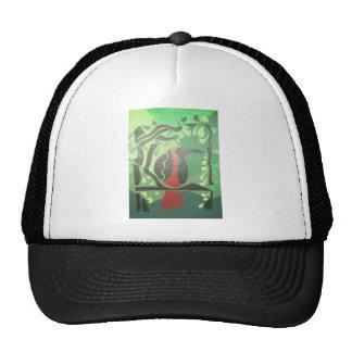 toucan in red & green trucker hats