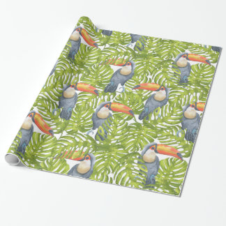 Toucan Jungle Bird Tree Leaves Pattern Wrapping Paper