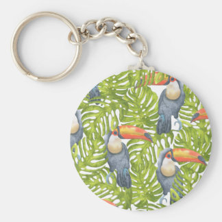 Toucan Jungle Bird Trees Pattern Key Ring