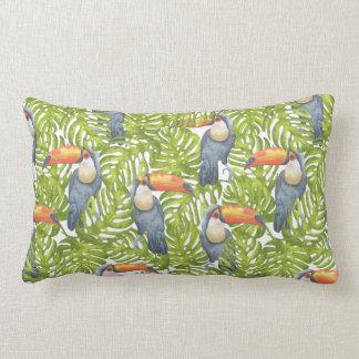 Toucan Jungle Bird Trees Pattern Lumbar Pillow