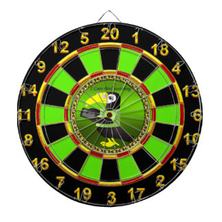 Toucan parrots with computer and gold foil design dartboard