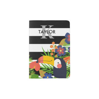 Toucan & Tropical Flowers Name & Monogram Passport Holder