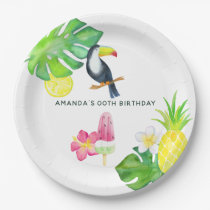Toucan Tropical Watercolor Summer Party Paper Plate
