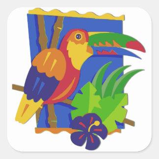 Toucan Window Perch Square Sticker