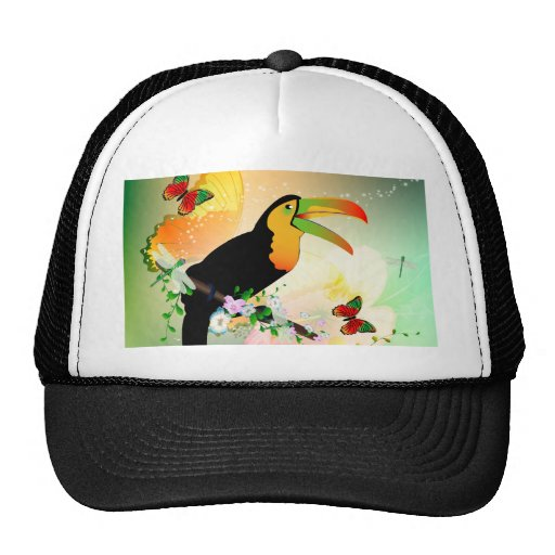 Toucan with flowers hat