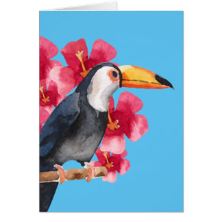Toucan with Red Tropical Flowers Card