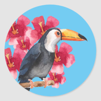 Toucan with Red Tropical Flowers Classic Round Sticker