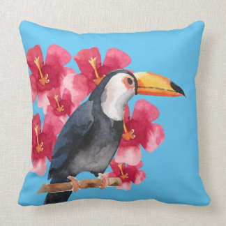 Toucan with Red Tropical Flowers Cushion