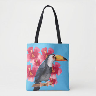 Toucan with Red Tropical Flowers Tote Bag
