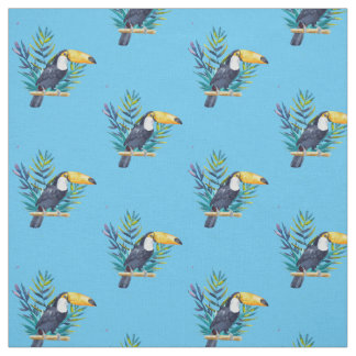 Toucan With Tropical Leaves Fabric