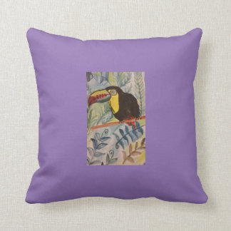Toucan with tropical theme cushion