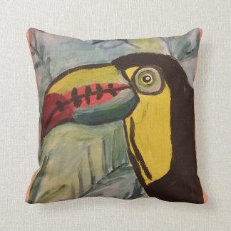 Toucan with tropical theme throw pillow