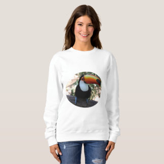 Toucan Women's Basic Sweatshirt, White Sweatshirt