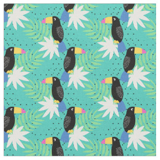 Toucans On Teal Fabric
