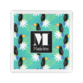 Toucans On Teal | Monogram Acrylic Tray
