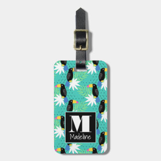 Toucans On Teal   Monogram Bag Tag