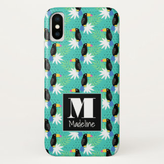 Toucans On Teal | Monogram iPhone X Case