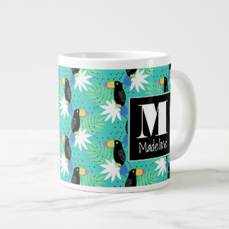 Toucans On Teal | Monogram Large Coffee Mug