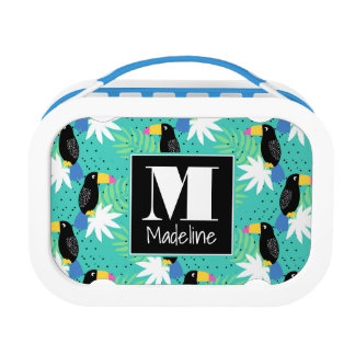 Toucans On Teal | Monogram Lunch Box