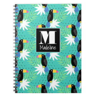 Toucans On Teal | Monogram Spiral Notebook