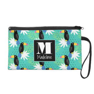 Toucans On Teal | Monogram Wristlets