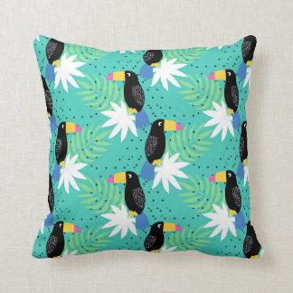 Toucans On Teal Throw Pillow