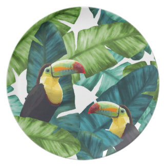 Toucans Tropical Banana Leaves Pattern Plate