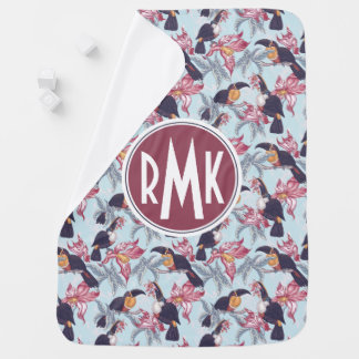 Toucans With Exotic Flowers | Monogram Baby Blanket