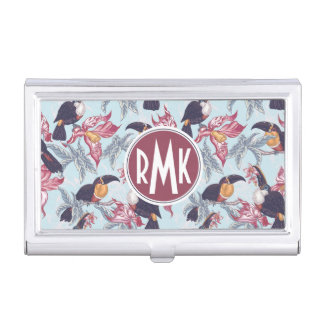 Toucans With Exotic Flowers | Monogram Business Card Holder