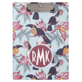 Toucans With Exotic Flowers | Monogram Clipboard