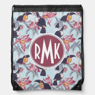 Toucans With Exotic Flowers | Monogram Drawstring Bag