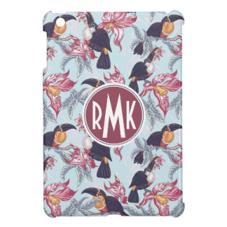 Toucans With Exotic Flowers | Monogram iPad Mini Cases