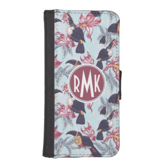 Toucans With Exotic Flowers | Monogram iPhone SE/5/5s Wallet Case