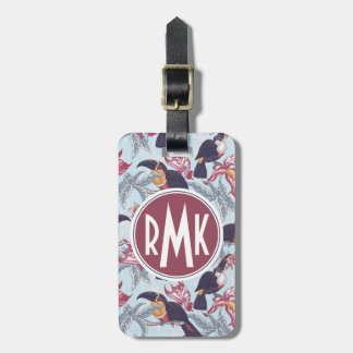 Toucans With Exotic Flowers | Monogram Luggage Tag