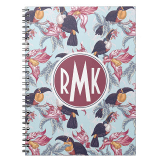 Toucans With Exotic Flowers   Monogram Notebooks