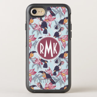 Toucans With Exotic Flowers   Monogram OtterBox Symmetry iPhone 8/7 Case