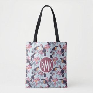 Toucans With Exotic Flowers | Monogram Tote Bag