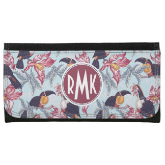 Toucans With Exotic Flowers | Monogram Wallets