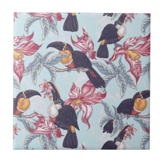 Toucans With Exotic Flowers Tile