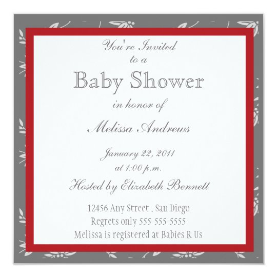 Touch of Class Red Baby Shower Invitation