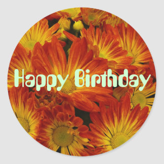Touch of Fall, Happy Birthday, orange mums Round Sticker