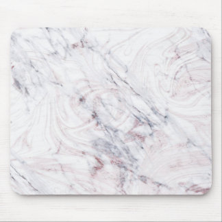 Touch of Rose White Grey Marble Swirl Chic Trendy Mouse Mat