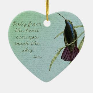 Touch the Sky Hummingbird Ceramic Heart Decoration