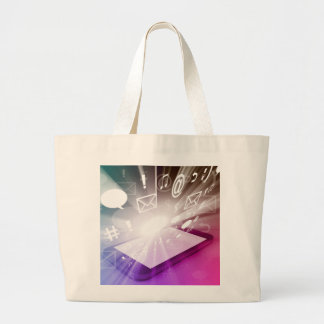 Touchscreen Smart Phone Downloading Apps and Cloud Jumbo Tote Bag