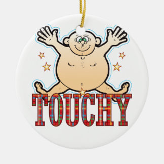 Touchy Fat Man Round Ceramic Decoration