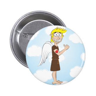 Tough Angel with heart tattoo 6 Cm Round Badge