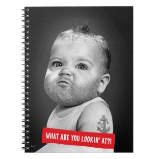 Tough Beared Baby Boy Spiral Notebook