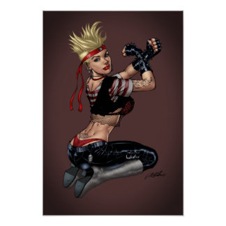 Tough Blond Punk Girl - Ready To Fight by Al Rio Poster